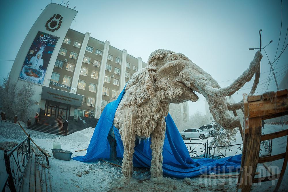 Новогодний Якутск: в центре столицы появится снежная фигура мамонта с мамонтенком