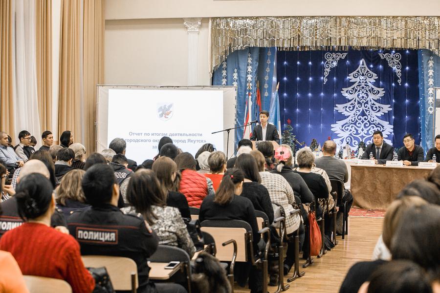 Жители микрорайона Кангалассы приняли отчет по итогам деятельности Окружной администрации города за 2018 год