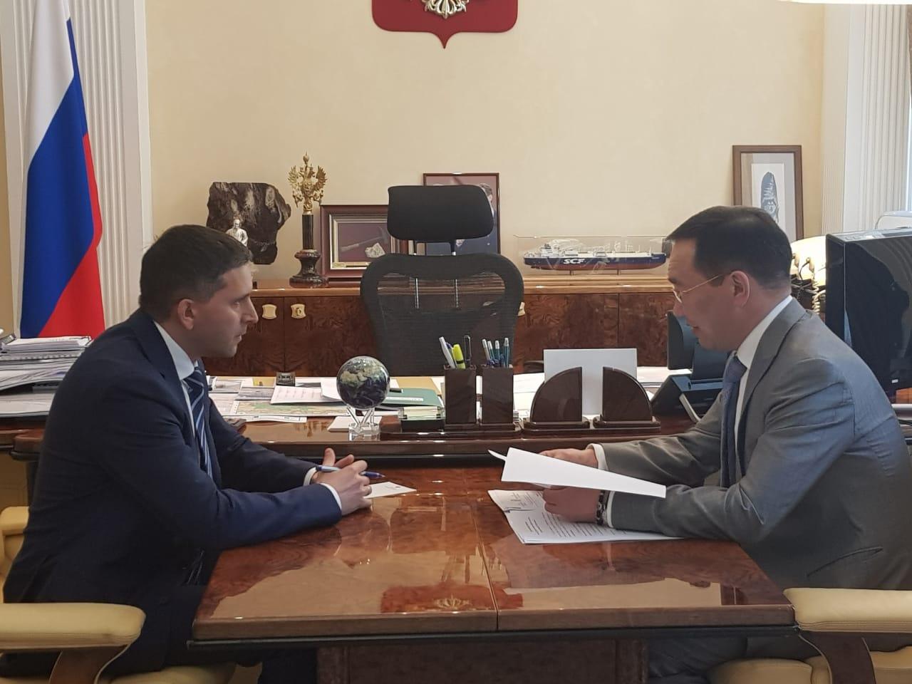 Айсен Николаев встретился с министром природных ресурсов и экологии РФ Дмитрием Кобылкиным