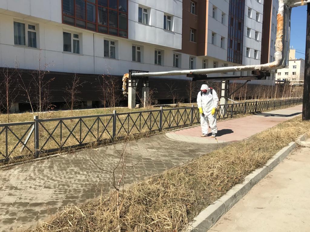 В Якутске проводится дезинфекция мест общего пользования в многоквартирных домах