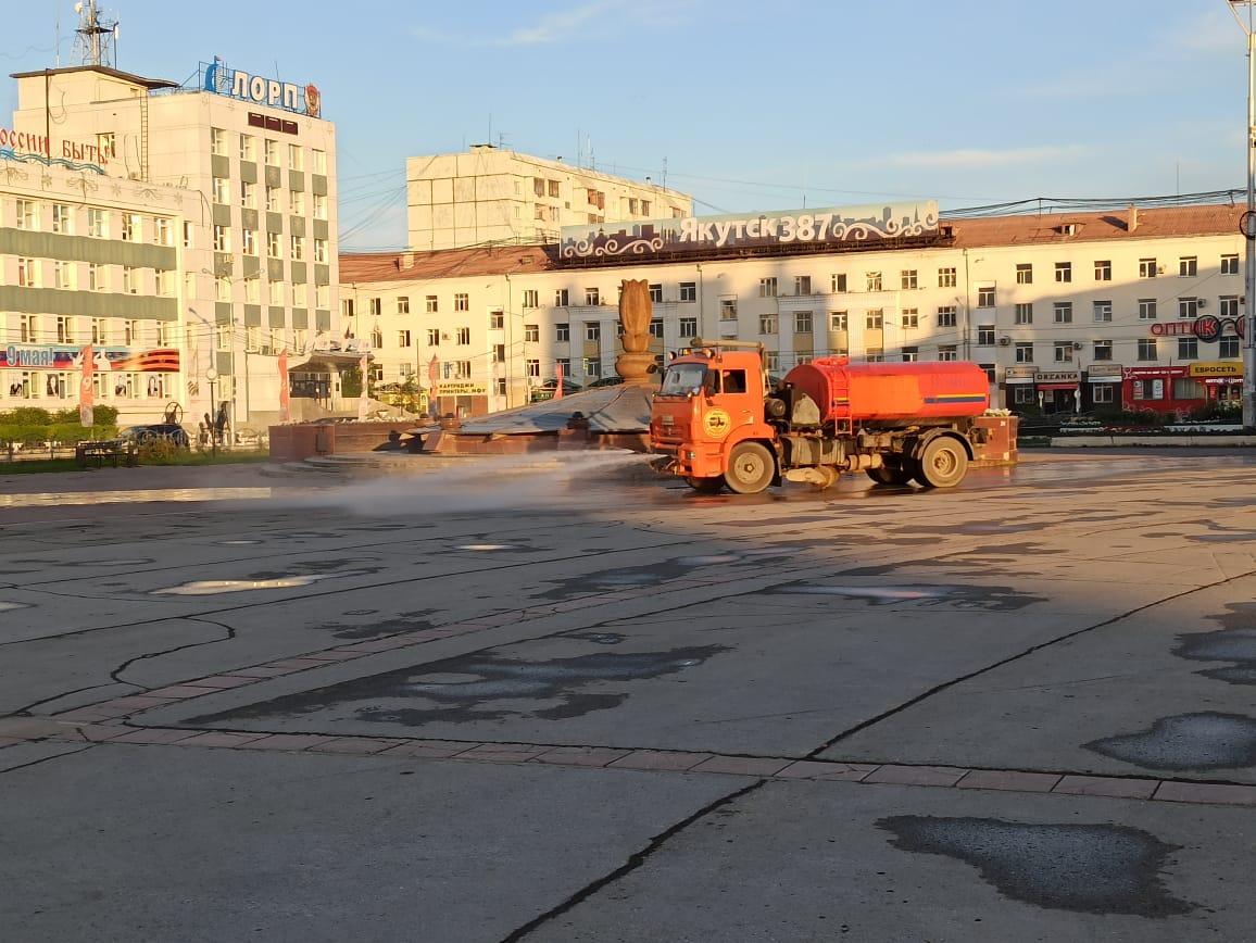 Дезинфекция улиц и площадей в Якутске проводится по графику